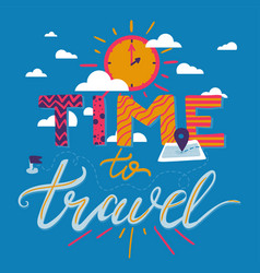 time to travel lettering vector image