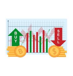 Trade bitcoin sell dollar financial investments vector