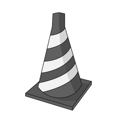 Traffic cone icon in monochrome style isolated on vector image