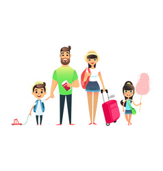 travelling family people waiting for airplane or vector image