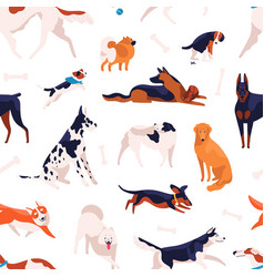various domestic doggy breeds seamless pattern vector image