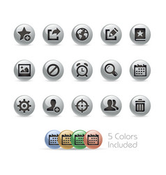 web and mobile icons 2 - metal round series vector image