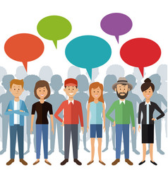 White background with full body group people vector