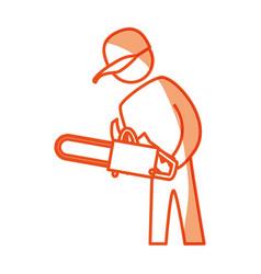 worker carpenter silhouette vector image