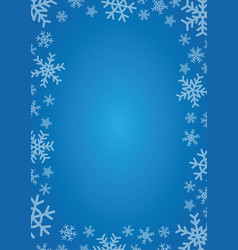 blue background with frame of snowflakes vector image