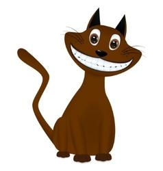 Cute brown cartoon cat smiling vector image vector image