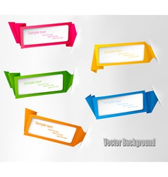 five origami banners vector image vector image