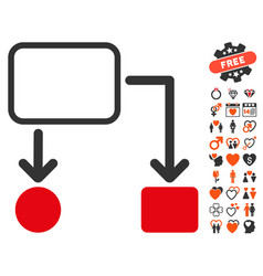 flowchart scheme icon with lovely bonus vector image vector image