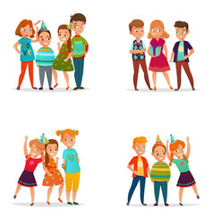 playing kids 4 cartoon icons vector image vector image