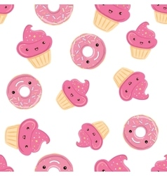 Seamless pattern with sweets - donuts cupcakes vector image vector image