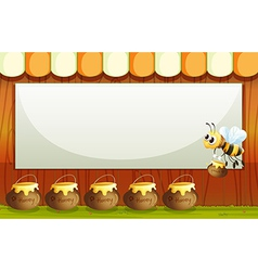 An empty template with a bee and pots of honey vector image vector image
