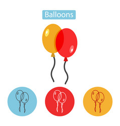 balloons isolated icon on white background vector image