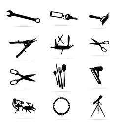 black silhouettes of tools symbols set vector image