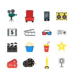 cartoon cinema color icons set vector image