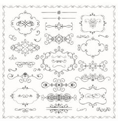 Black Hand Drawn Decorative Doodle Design Elements vector image vector image