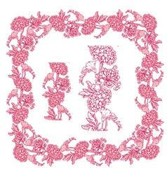 flower frame pink 3 380 vector image vector image