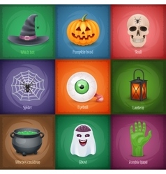Happy Halloween square banners vector image