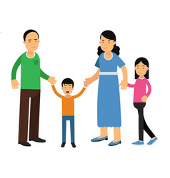 happy parents standing with their son and daughter vector image vector image
