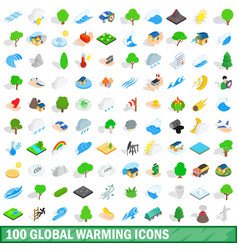 100 global warming icons set isometric 3d style vector