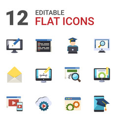 12 website flat icons set isolated on white vector