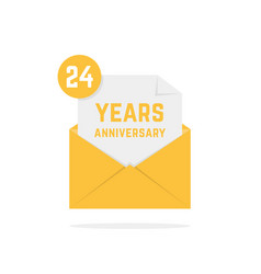 24 years anniversary icon in open letter vector