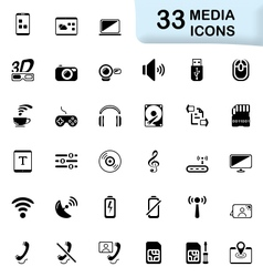 33 black media icons vector