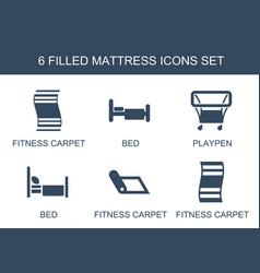 6 mattress icons vector