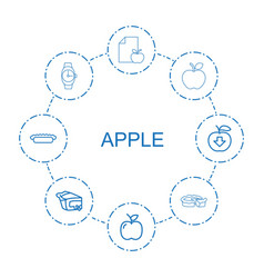 8 apple icons vector
