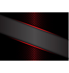 Abstract gray banner red metallic line on dark vector