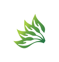 abstract leaves hand save nature logo icon concept vector image