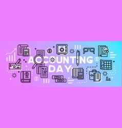 Accounting day tool banner outline style vector