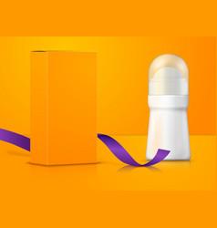 Advert white deodorant bottle with box vector
