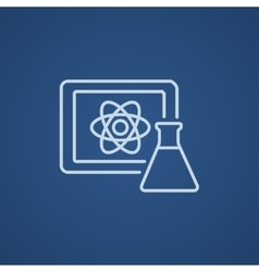 Atom sign drawn on board and flask line icon vector image
