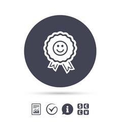 Award smile icon happy face symbol vector