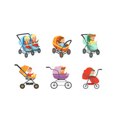 bacarriages with kids sitting inside set vector image