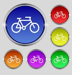 bike icon sign Round symbol on bright colourful vector image