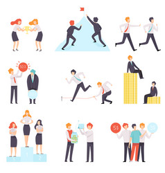 Business competition set business people vector