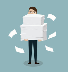 businessman holds pile office papers and vector image