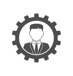 Businessman in gear icon vector image