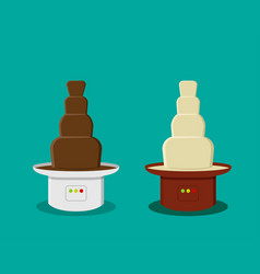 Cheese and chocolate fondue in flat style vector