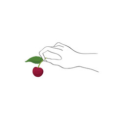 cherry on top hand holding berry cooking dessert vector image