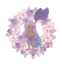Chocolate mermaid floral flower wreath illu vector