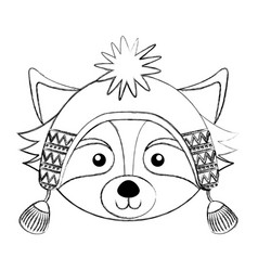 Christmas raccoon face cartoon vector