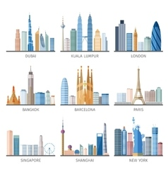 City skyline flat icons set vector image