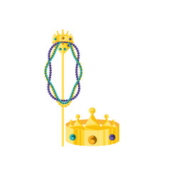 Crown of king with crosier and necklaces vector