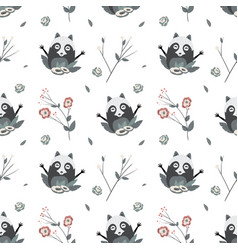 Cute raccoons seamless pattern vector
