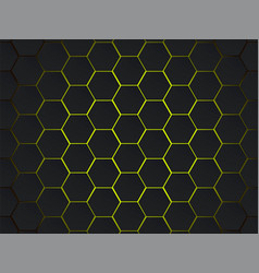 dark gray and yellow hexagons modern geometrical vector image