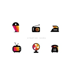 Development of creative set icons Electronic vector