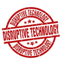 Disruptive technology round red grunge stamp vector