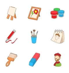 Drawing icons set cartoon style vector